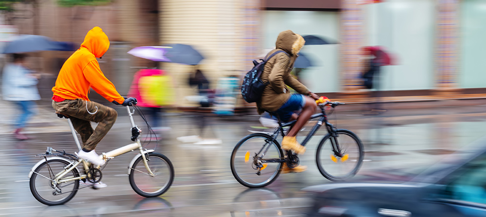 biking in rain